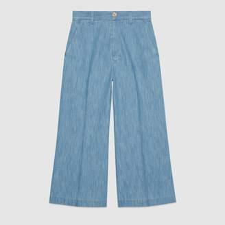 Gucci Embroidered denim culotte pant
