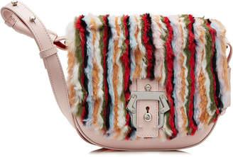Paula Cademartori Leather Shoulder Bag with Fur