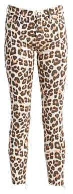 Mother Looker High-Rise Animal Ankle Jeans