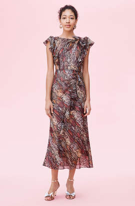 Rebecca Taylor Watercolor Snake Lurex Ruffle Dress