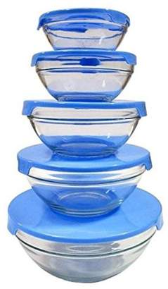 ±0 0 Kitchen Grade 5 in 1 Stackable Glass Bowl Sets (Blue)