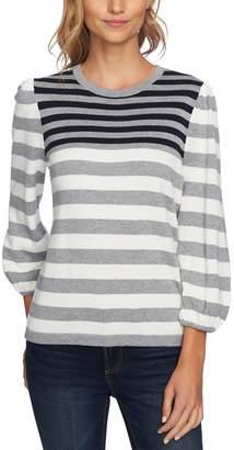 CeCe Stripe Blouson Sleeve Sweater
