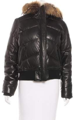 Andrew Marc Fur Trimmed Leather Jacket
