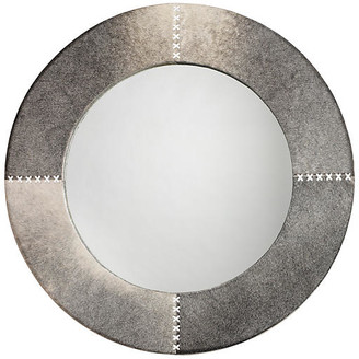 "Jamie Young Cross 36"" Stitch Wall Mirror - Gray Hide"