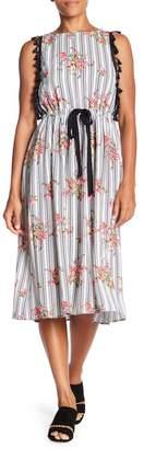 Eva Franco Sage Printed Tassel Midi Dress