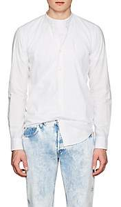 Barneys New York Men's Band-Collar Cotton Shirt - White
