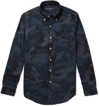 Polo Ralph Lauren Slim-Fit Camouflage-Print Button-Down Collar Cotton-Twill Shirt - Men - Blue