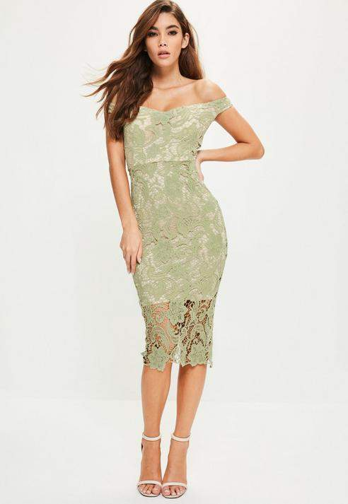 Missguided Lace Bardot Midi Dress