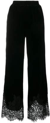 Gold Hawk lace trim flared trousers