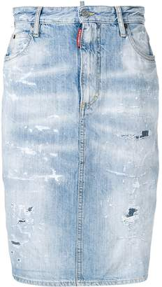 DSQUARED2 distressed denim skirt