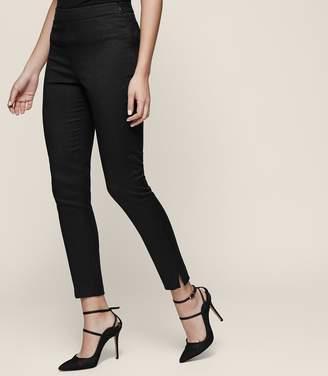 Reiss Lea - Jacquard Knit Skinny Trousers in Black
