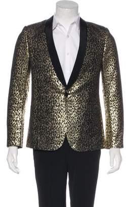 Saint Laurent Metallic Babycat Tuxedo Blazer
