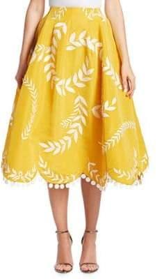 Oscar de la Renta Two-Pocket Fern Skirt