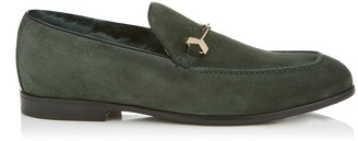 Jimmy Choo MARTI Bottle Velvet Suede Loafers with Fur Lining