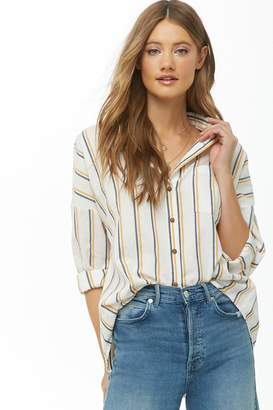 Forever 21 Gauze Woven Striped High-Low Shirt