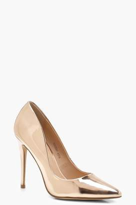 boohoo Mirror Metallic Pointed Toe Court Shoes