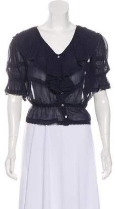 LoveShackFancy Semi-Sheer Short Sleeve Top