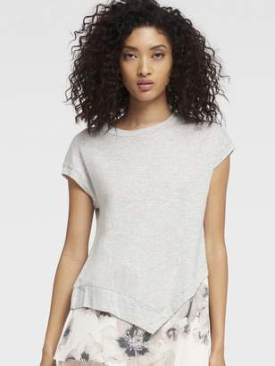 DKNY Asymmetrical Hem Cap Sleeve Top