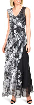 Komarov Side Ruffle Chiffon Maxi Dress