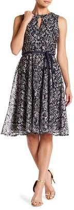 Gabby Skye Belted Front Cutout Sleeveless Lace Dress