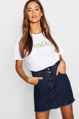 boohoo Elastic Ruffle Waist Denim Mini Skirt