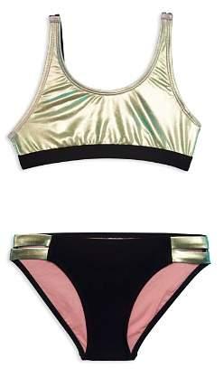 Gossip Girl Girls' Contrast Metallic 2-Piece Swimsuit - Big Kid