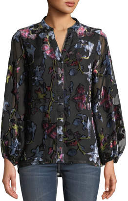 Tolani Melany Floral Burnout Velvet Long-Sleeve Shirt, Plus Size
