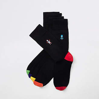River Island Black robot print socks multipack