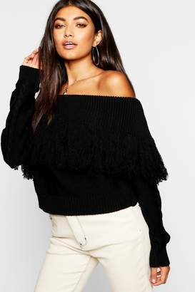 boohoo Knitted Off The Shoulder Jumper
