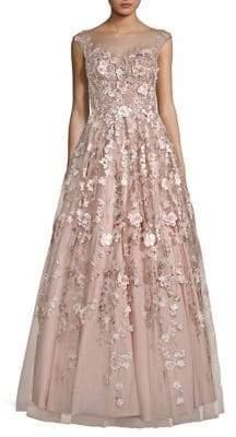 Basix II Black Label Floral Floor-Length Gown