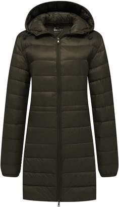 Wantdo Women's Warm Parka Hooded Packable Ultra Light Weight Down Coat