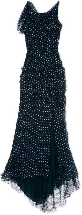 Nina Ricci Dot Print Long Silk Chiffon Dress