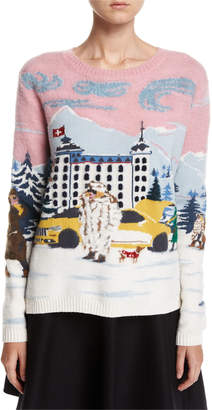 Moncler Maglione Winter-Town Long-Sleeve Wool Sweater