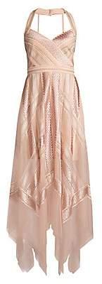 BCBGMAXAZRIA Women's Lace Handkerchief Halter Dress - Size 0