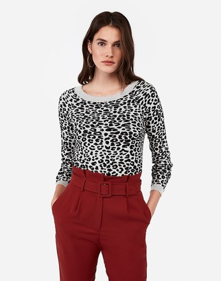 Express Fitted Animal Print Bateau Neck Sweater