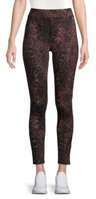 Joan Vass Python-Print Leggings