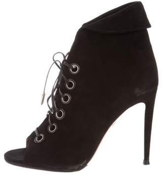 Aquazzura Suede Lace-Up Booties Black Suede Lace-Up Booties