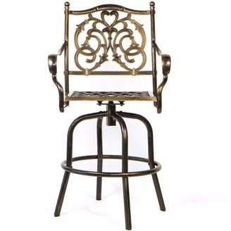 XtremepowerUS Barton Cast Aluminum Swivel Dining Chair Patio BarStool, Antique Copper Design