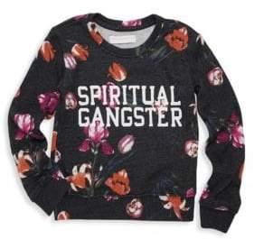 Spiritual Gangster Little Girl's & Girl's Long Sleeve Floral T-Shirt