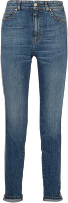 Alexander McQueen Striped High-rise Slim-leg Jeans