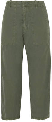 Nili Lotan Luna Cropped Cotton And Linen-blend Twill Pants - Army green