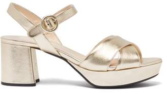 Prada Metallic Leather Platform Sandals - Womens - Gold