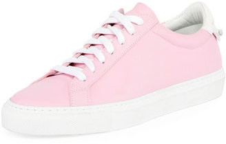 Givenchy Devon Leather Low-Top Sneaker, White/Fuchsia $495 thestylecure.com