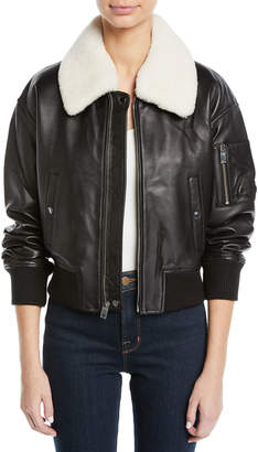 Derek Lam 10 Crosby Cropped Leather Flight Jacket w/ Faux Shearling Collar