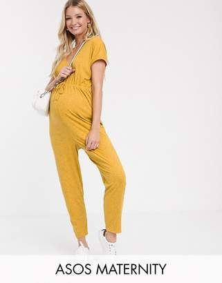 Asos DESIGN Maternity v neck lounge wear jumpsuit with tie waist