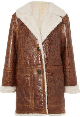 Yves Salomon Cracked Glossed-shearling Coat - Brown