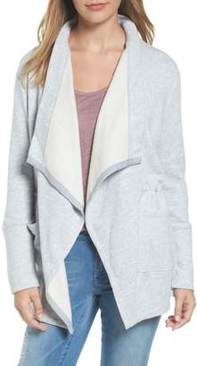 Caslon Asymmetrical Drape Collar Terry Jacket