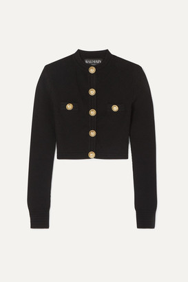 Balmain Button-embellished Jacquard-knit Cardigan - Black