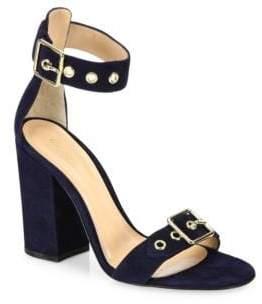 Gianvito Rossi Hayes Buckle Suede Ankle-Strap Block-Heel Sandals