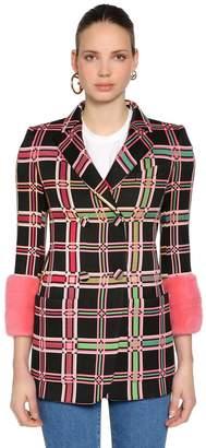Fendi Plaid Cotton Blend Jacquard Blazer